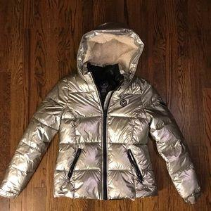 Silver puffer coat